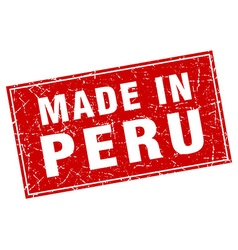 Peru red square grunge made in stamp vector