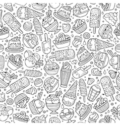 Cartoon hand-drawn ice cream doodles seamless vector image