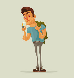 Adult man character getting lights cigarette vector