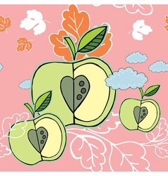 autumn apple background vector image vector image