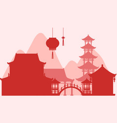 Background design with silhouette buildings in red vector