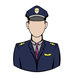 captain of the aircraft icon cartoon vector image
