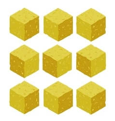 Cartoon isometric sand rock stone game brick cube vector
