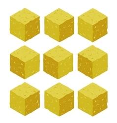 Cartoon isometric sand rock stone game brick cube vector image