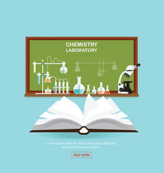 Chemical laboratory science lesson with open book vector