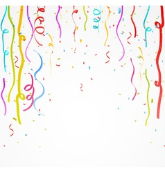 Colorful celebration ribbon with confetti vector image vector image
