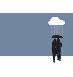 couple sharing an umbrella vector image