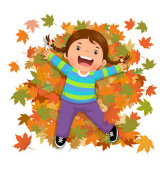 cute girl playing with falling leaves vector image