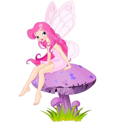 Fairy on the Mushroom vector image