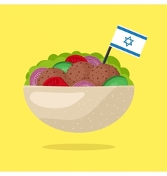 Falafel with Israeli Flag Vegetarian Fast Food vector image