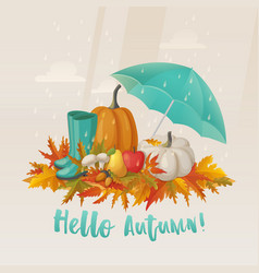 Fall or autumn leaves and apple mushroom on it vector