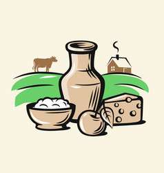 farmers milk products vector image vector image