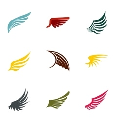 Feather wings icons set flat style vector