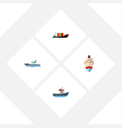 Flat icon ship set of delivery transport vector
