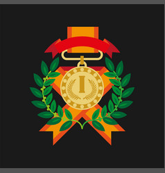 golden medal for first place with laurel wreath vector image
