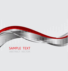 gray and red wave background with copy space vector image vector image