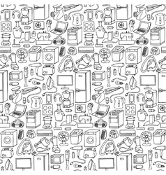 Household appliances hand drawn seamless pattern vector image vector image
