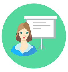 Icon girl businesswoman near the board in a flat vector