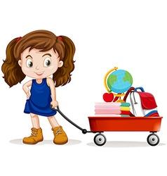 Little girl pulling wagon full of school objects vector