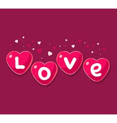 Lovely red hearts on dark background ar vector