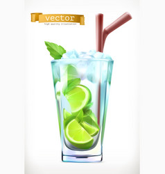 mojito summer cocktail 3d icon vector image