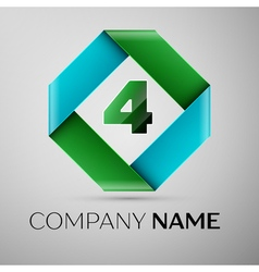 Number four logo symbol in the colorful rhombus vector