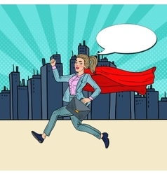 Pop art super business woman with red cape running vector