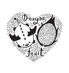 Print with heart and dragon fruit vegan food vector
