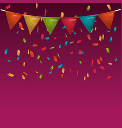 Rainbow bunting hanging isolated vector