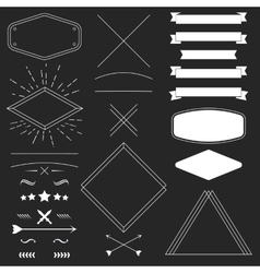 Set of vintage hipster design elements like frames vector image