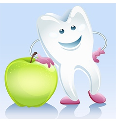 tooth and apple vector image vector image