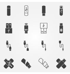 USB icons set vector image