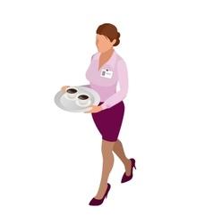 Waitress with tea pot and tea cup tea waitress vector