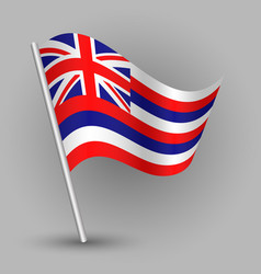 Waving simple triangle american state flag hawaii vector