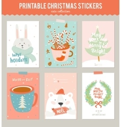 Collection of 9 christmas gift tags and cards vector