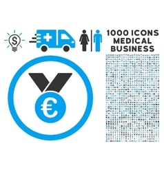 Euro prize medal icon with 1000 medical business vector
