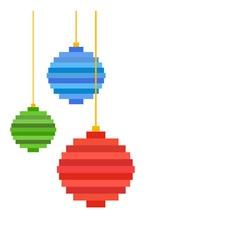 three pixel art christmas tree ball flat design vector image