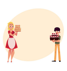 Mother and son holding birthday cakes getting vector