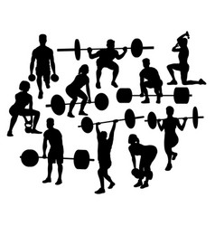 Weightlifting activity sport silhouettes vector