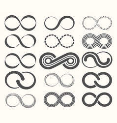 infinity symbol set15 signs of eternity vector image