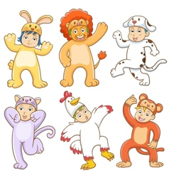 Kid with animals costume vector image