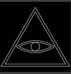 All seeing eye symbol the white path icon vector