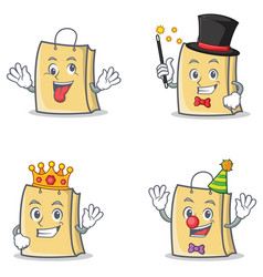 Set of bag character with crazy magician king vector