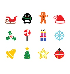 Colorful christmas icons set vector