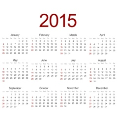 Modern 2015 calendar on white vector