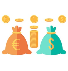 Set of dollar and euro coins and two money sacks vector image