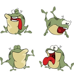 Set of cute cartoon green frogs vector