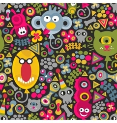 Cute monsters balloons seamless pattern on dark vector