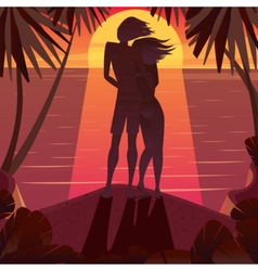 Silhouette of a couple admiring the sunset vector