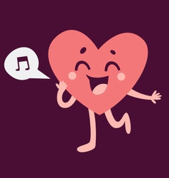 Cute heart character singing and running vector